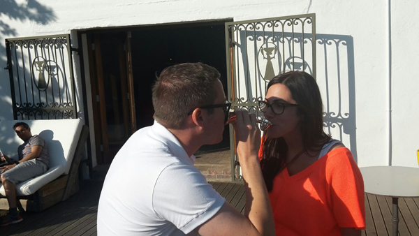 September newlyweds Richard and Stephanie Thomas are seen drinking from the Lovers Cup at Warwick Estate.