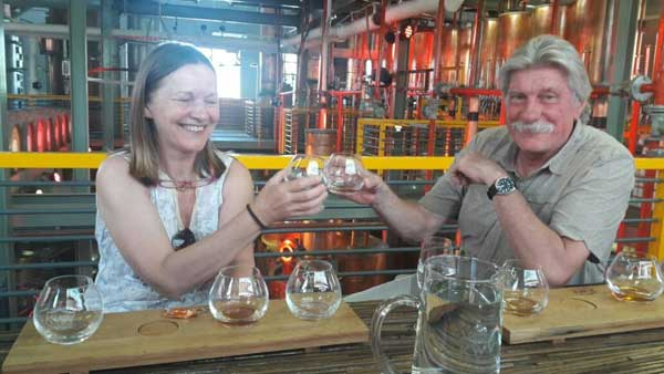 Robert and Maja from Austria spent two days with Pietman to find out about brandy making as well as wine. They are seen here doing a brandy tasting at KWV Cellars.