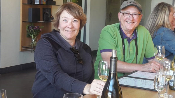 Morris and Debra Flaum from the USA chose August for their special tour with Pietman. The day also included subjects such as proteas and art as well as wine. The picture was taken at Thelema estate.