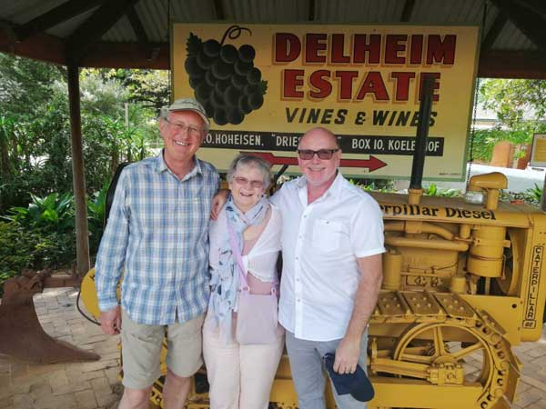 Phil Wrigley on the right plus William and Barbara from London visited the Winelands for the second time in a year and had lunch at Delheim Wine Estate.