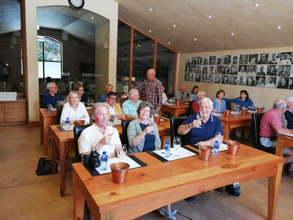The Wine team from Worcester UK whilst tasting at Kanonkop and being served by Mr Kanonkop himself, Johann Krige.