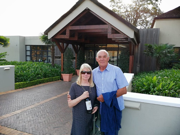 After snatching a few days holiday for 2019 in Europe Pietman returned in May to take John and Valerie Metcalfe from San Francisco on a pre selected tour of estates. Their visit to South Africa was arranged by Audley Travel in Boston USA.