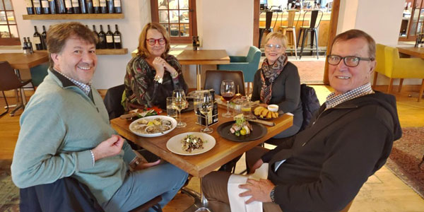 Didier Munoz a wine connoisseur and Denise O'Brien (left) from Miami, Florida with Elsabe and Pietman Retief in June 2019. Their tour was planned By Audley Travel's Boston USA office.